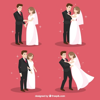 Pack of flat newlyweds in different actions