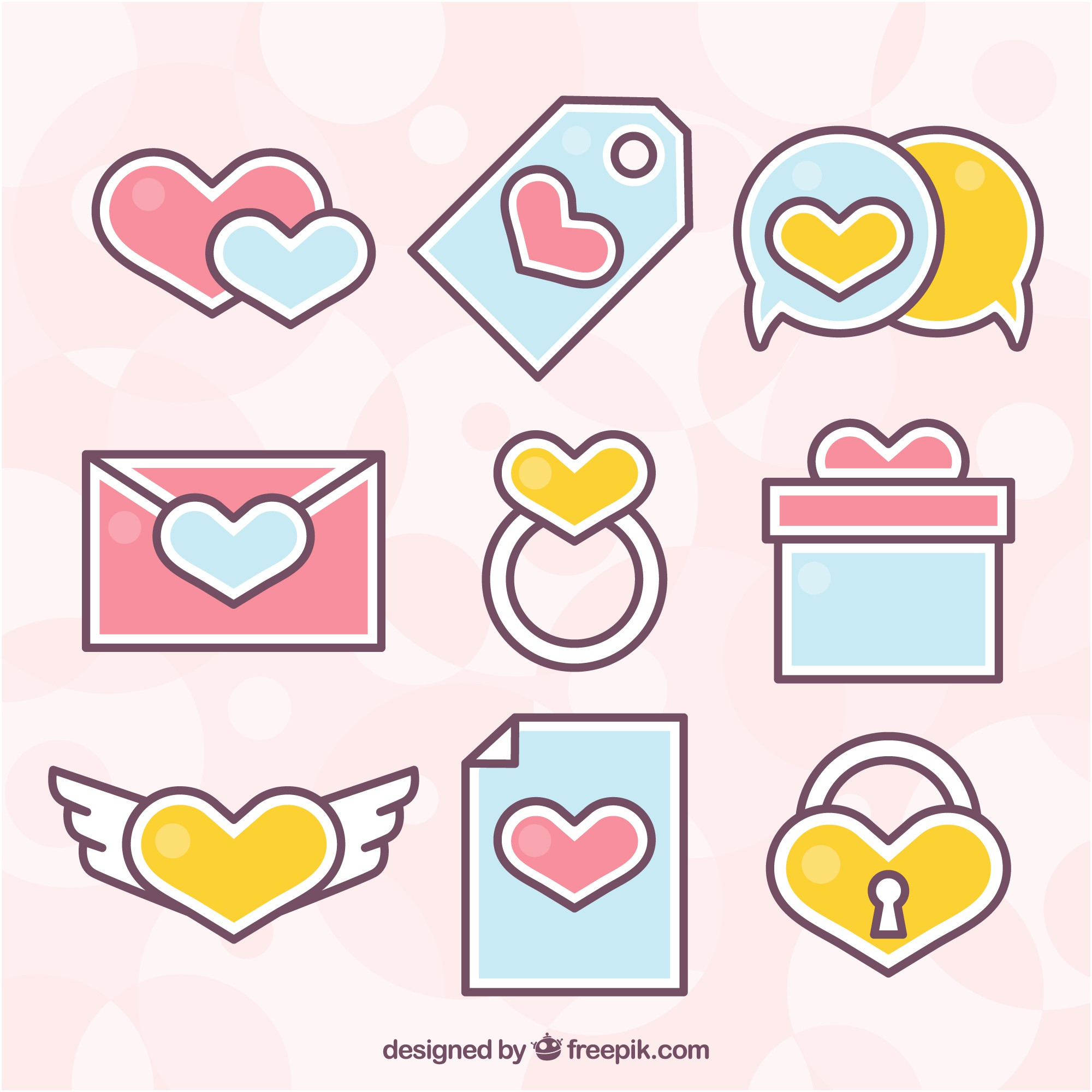 Pack of flat objects in pastel colors for valentine's day