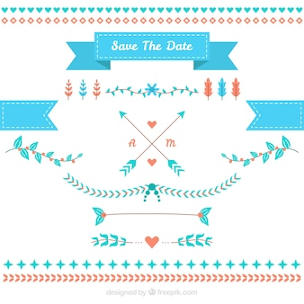 Pack of flat wedding elements with blue details