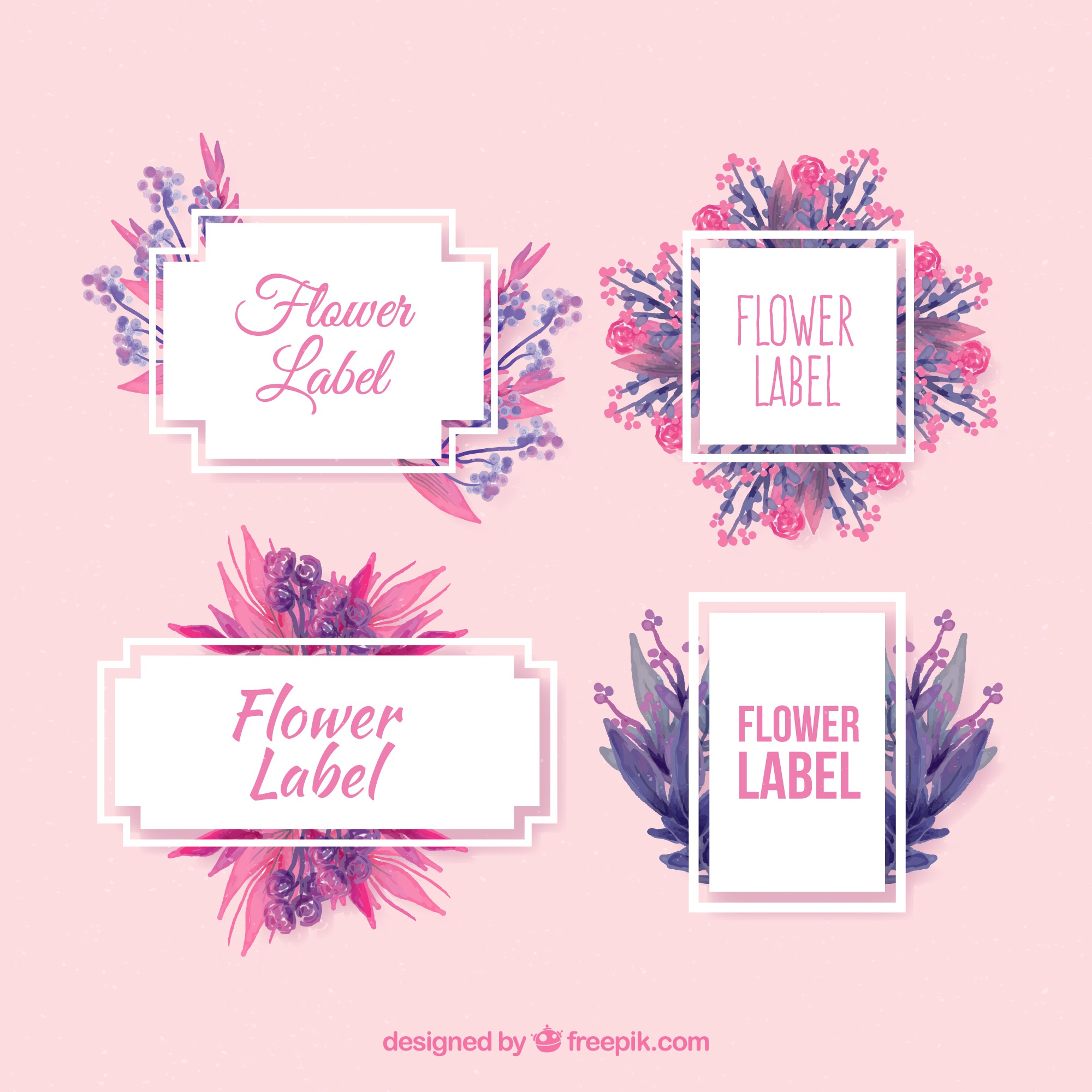 Pack of floral stickers in watercolor style