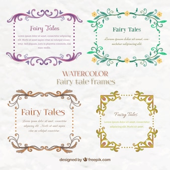 Pack of floral watercolor fairy tale frames