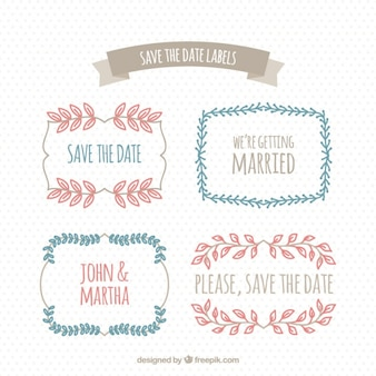 Pack of floral wedding stickers in vintage style