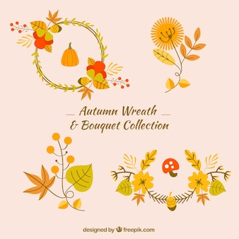 Pack of floral wreath and autumn leaves