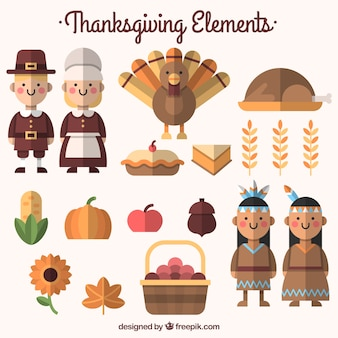 Pack of food and thanksgiving characters in flat design