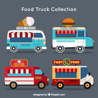 Pack of food truck with vintage style