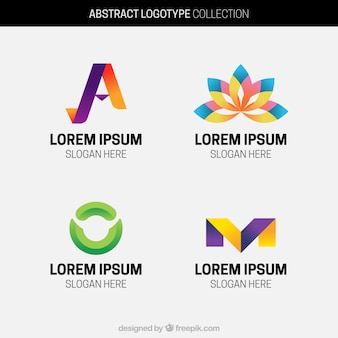 Pack of four abstract colored logos