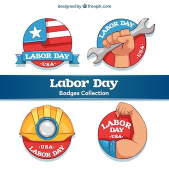 Pack of four american labor day stickers
