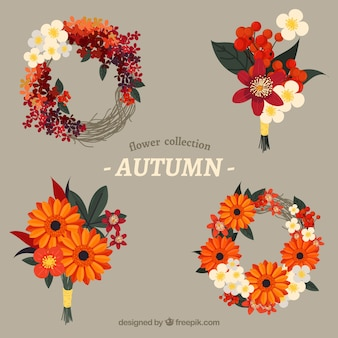 Pack of four autumn floral wreaths