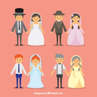 Pack of four beautiful wedding couples