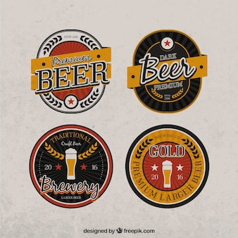 Pack of four beer vintage emblems