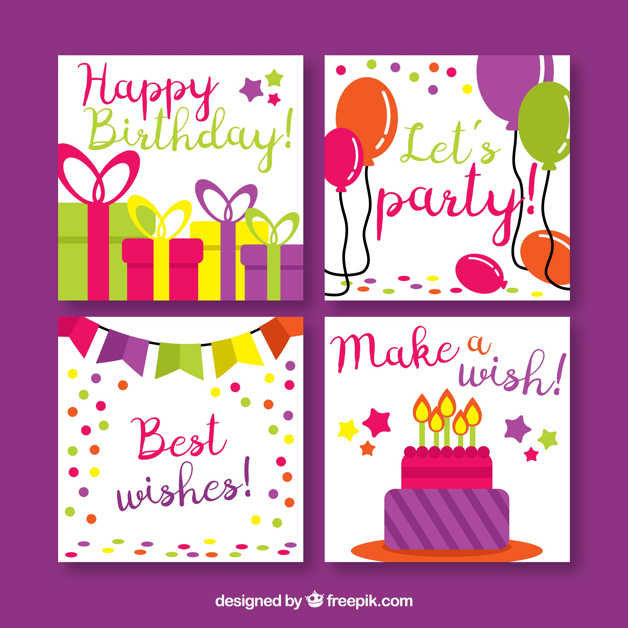 Pack of four birthday cards in flat design