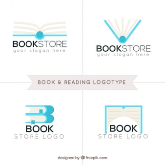 Pack of four book and reading logos in flat design
