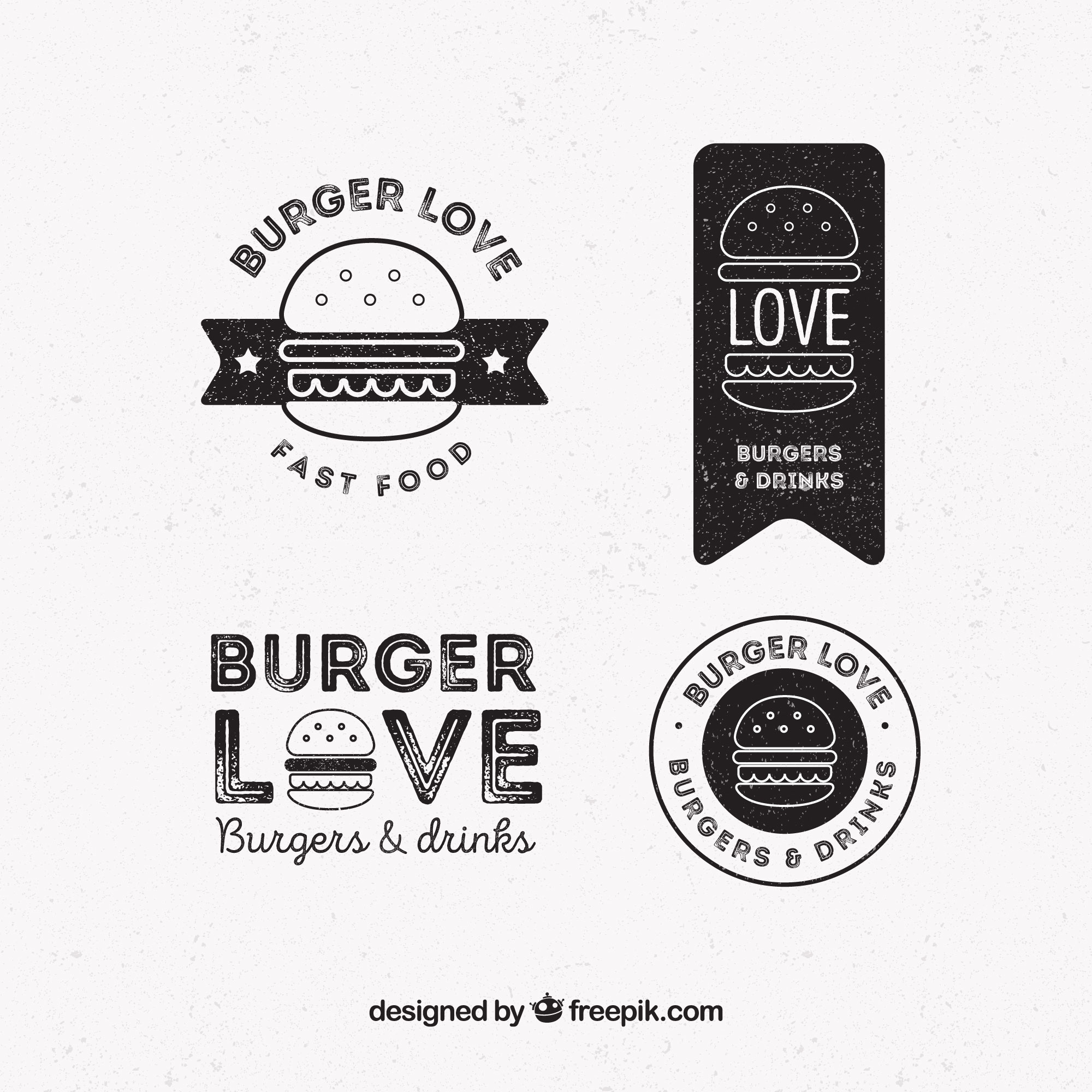 Pack of four burger logos in retro style