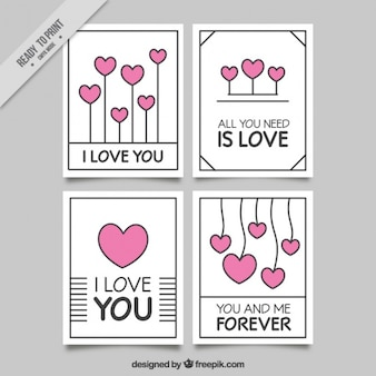 Pack of four cards with pink hearts for valentine's day