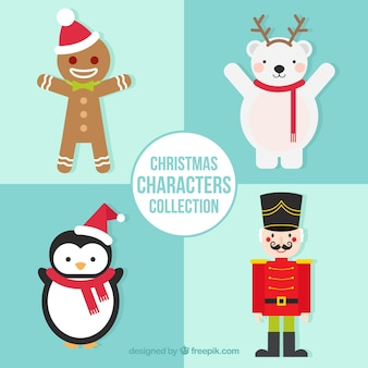 Pack of four christmas characters smiling