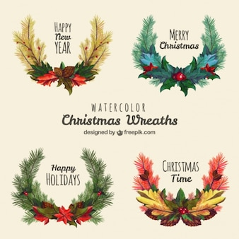 Pack of four christmas wreaths in watercolor style