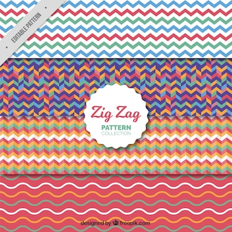 Pack of four colored zigzag patterns