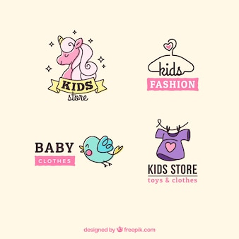 Pack of four cute kids logos