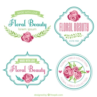 Pack of four cute labels with pink flowers
