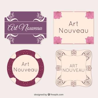 Pack of four decorative art nouveau labels