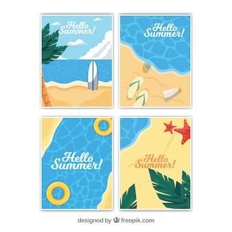 Pack of four decorative cards for summer