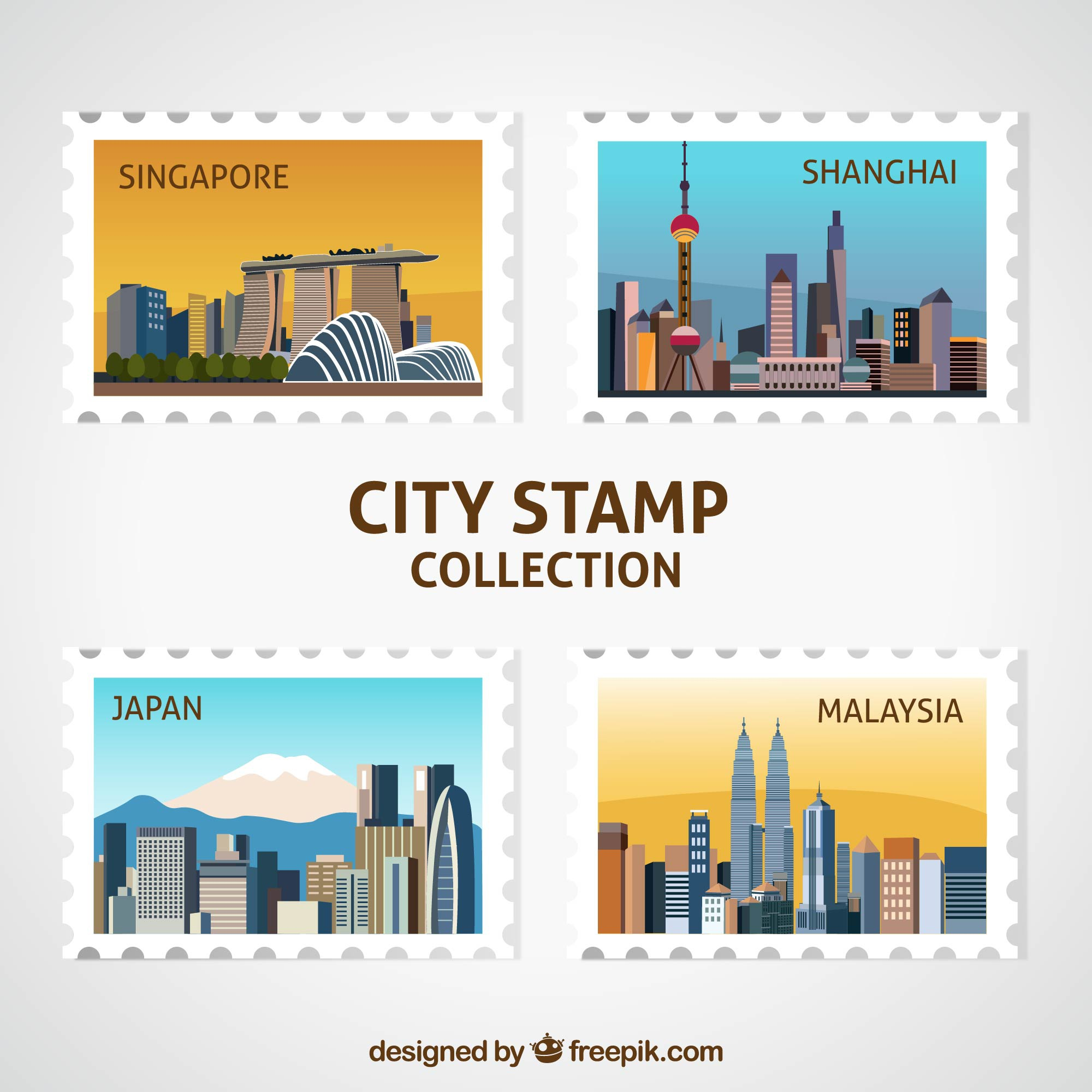 Pack of four decorative city stamps