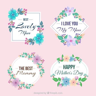 Pack of four decorative labels with colored flowers