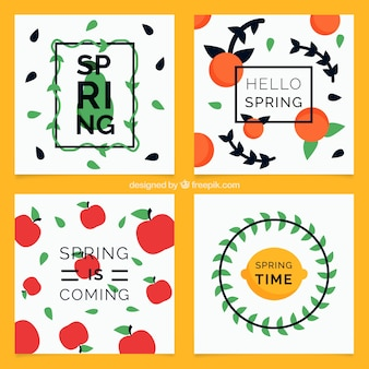 Pack of four decorative spring cards in flat design
