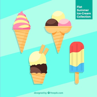 Pack of four delicious ice-creams in flat design