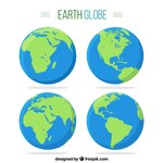 Pack of four earth globes