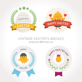 Pack of four easter badges in vintage style