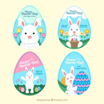 Pack of four easter bunny stickers