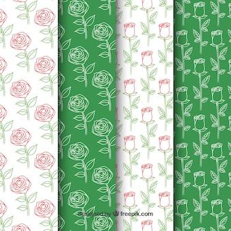 4つの幻想的なバラのパターンのパック
