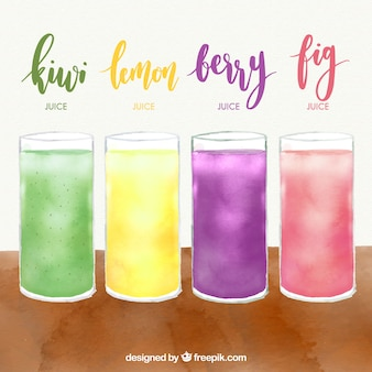 Pack of four fruit juices in watercolor style