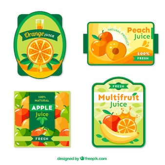 Pack of four fruits labels