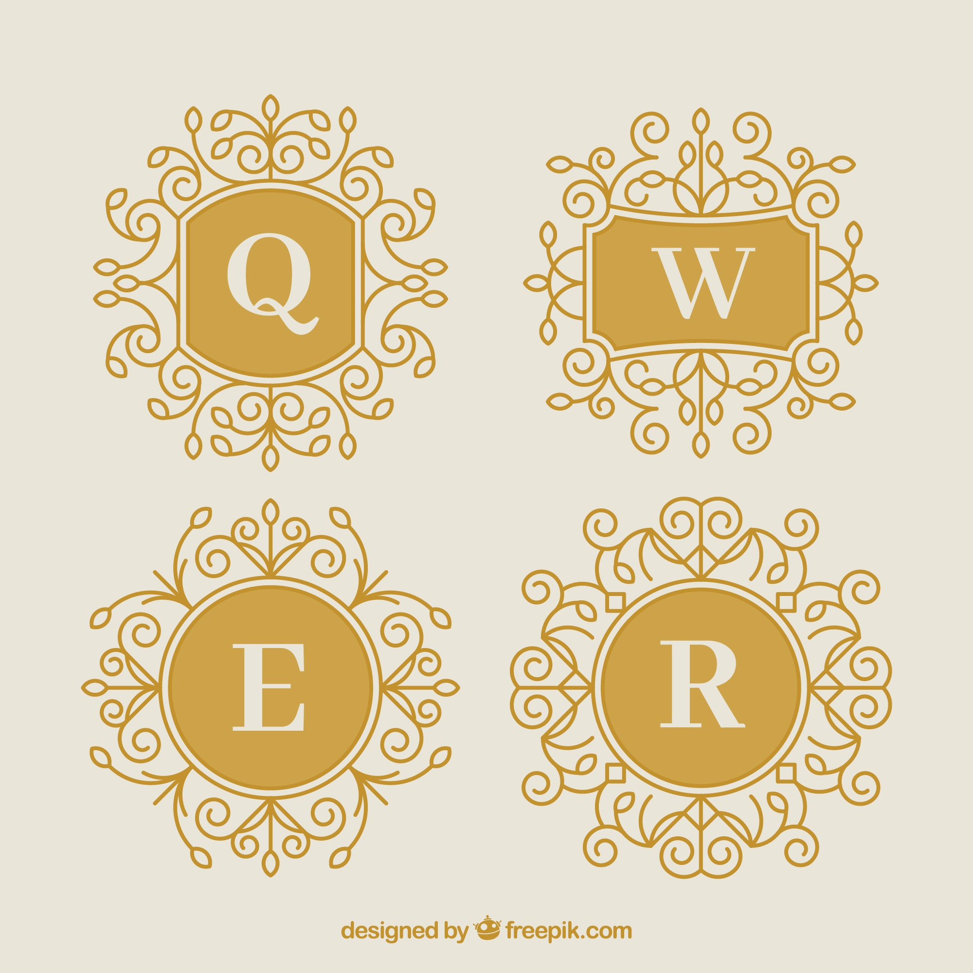 Pack of four gold decorative monograms