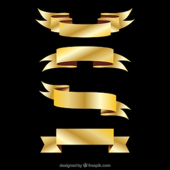 Pack of four golden ribbons