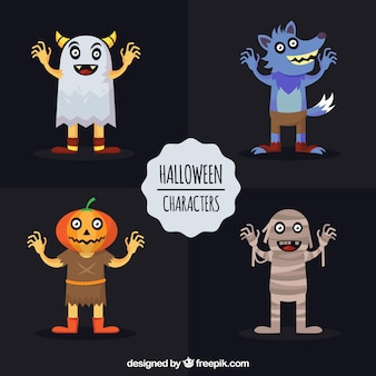 Pack of four halloween characters in flat design