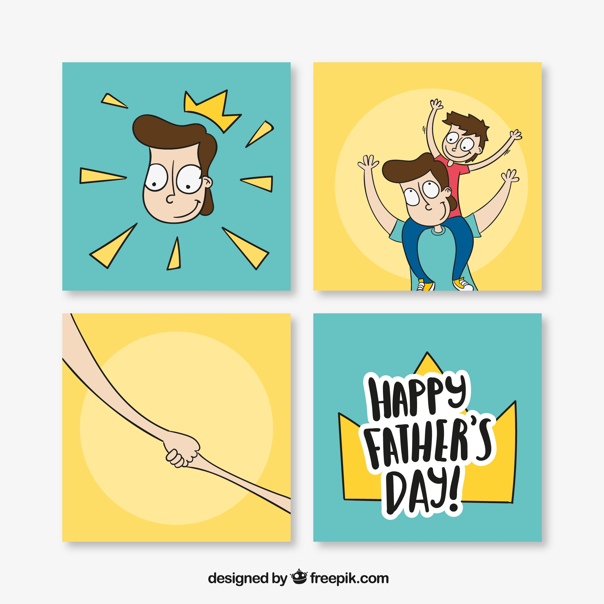 Pack of four hand-drawn cards for father's day