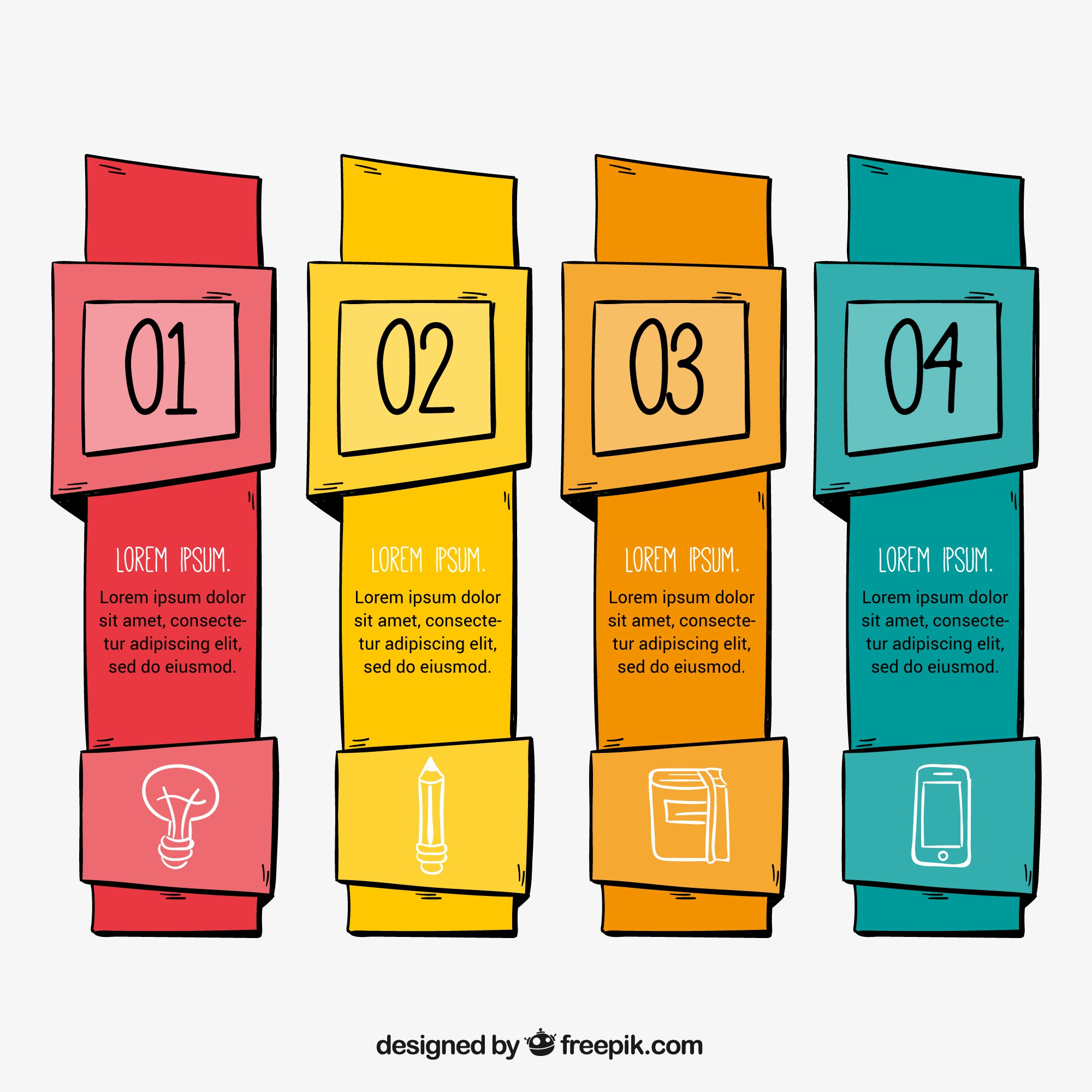 Pack of four hand-drawn infographic banners with different colors