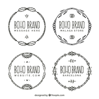 Pack of four hand-drawn logos in boho style