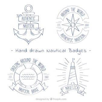 Pack of four hand-drawn nautical badges