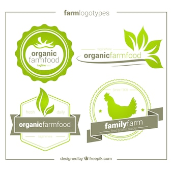 Pack of four hand drawn organic logos