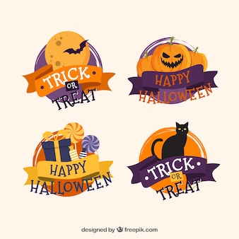 Pack of four happy halloween badges