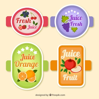 Pack of four juices stickers