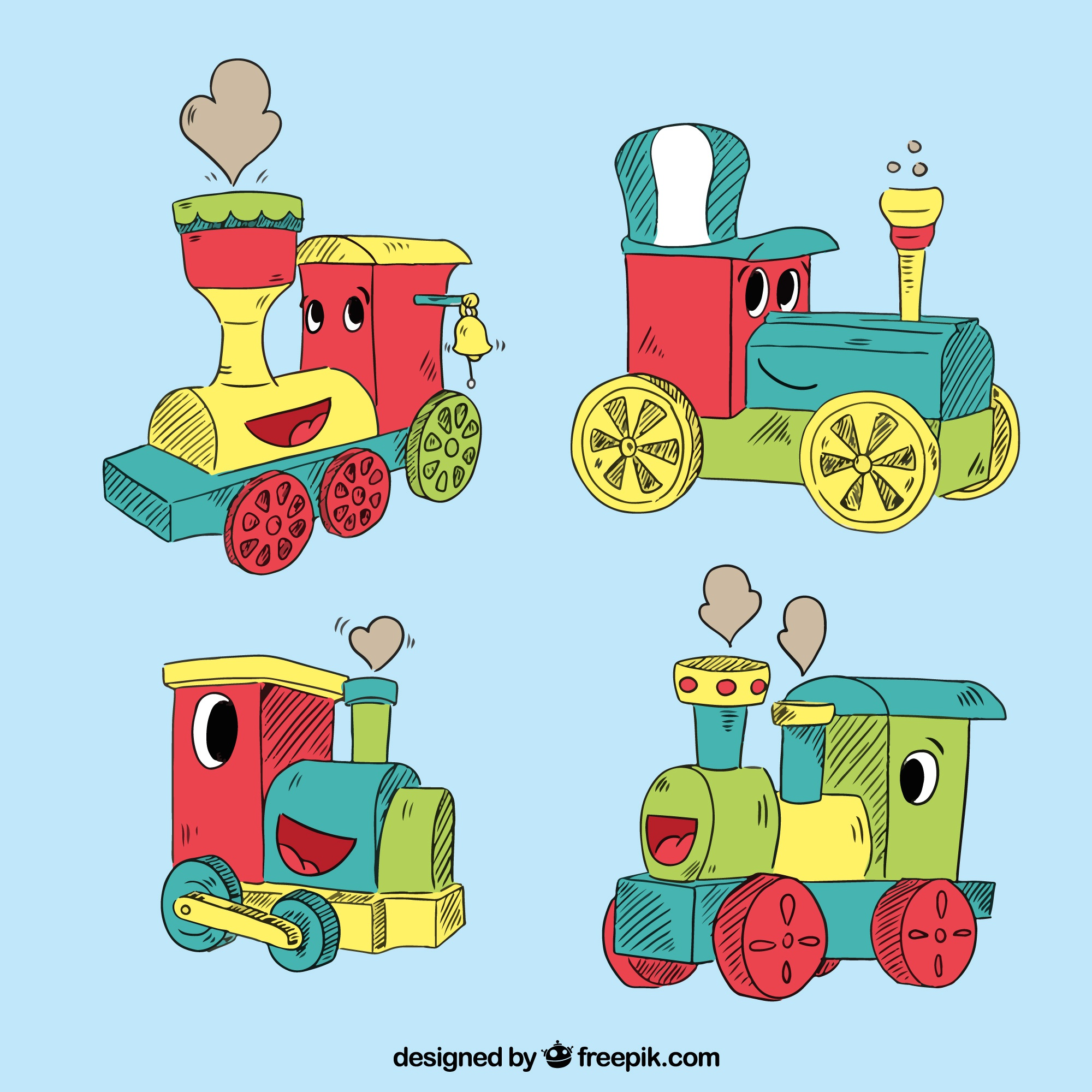 Pack of four locomotive characters