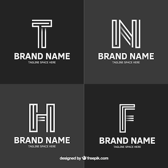 Pack of four logos with lines