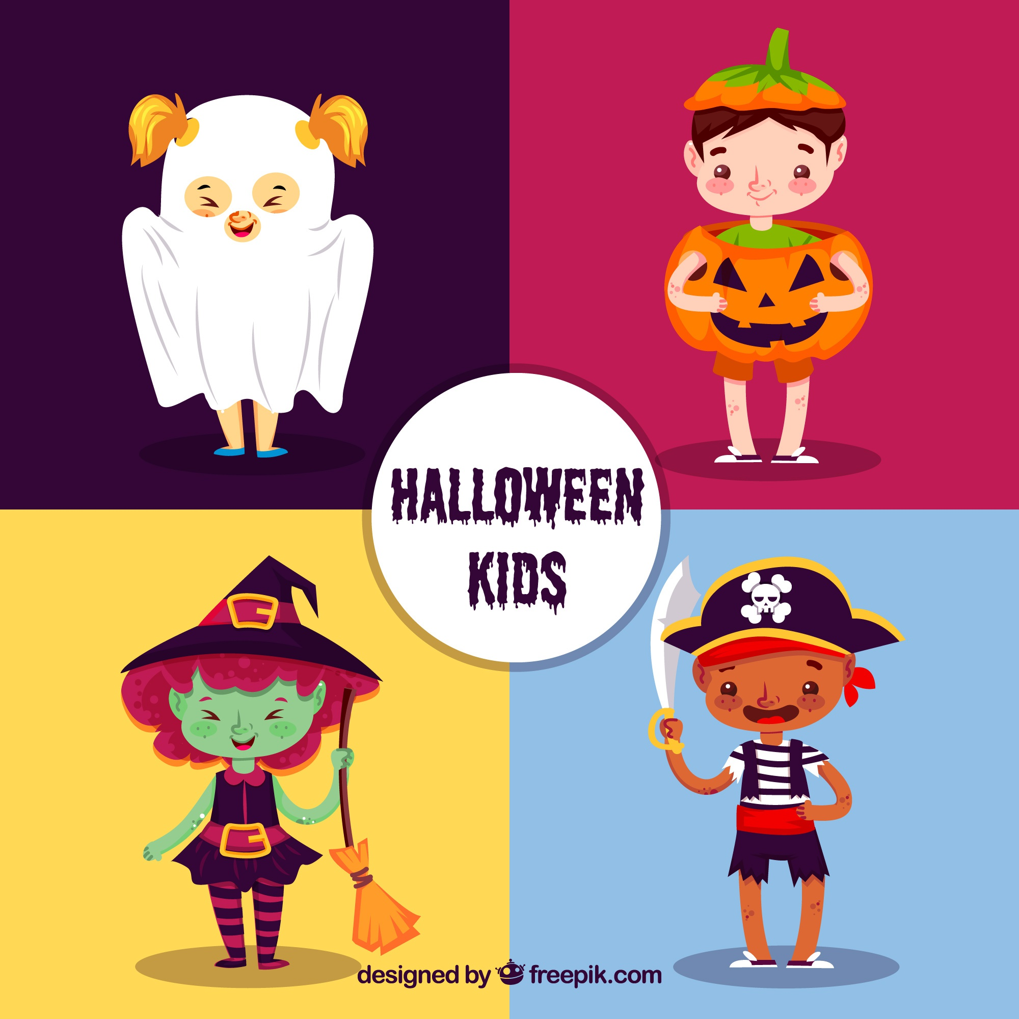 Pack of four lovely halloween characters