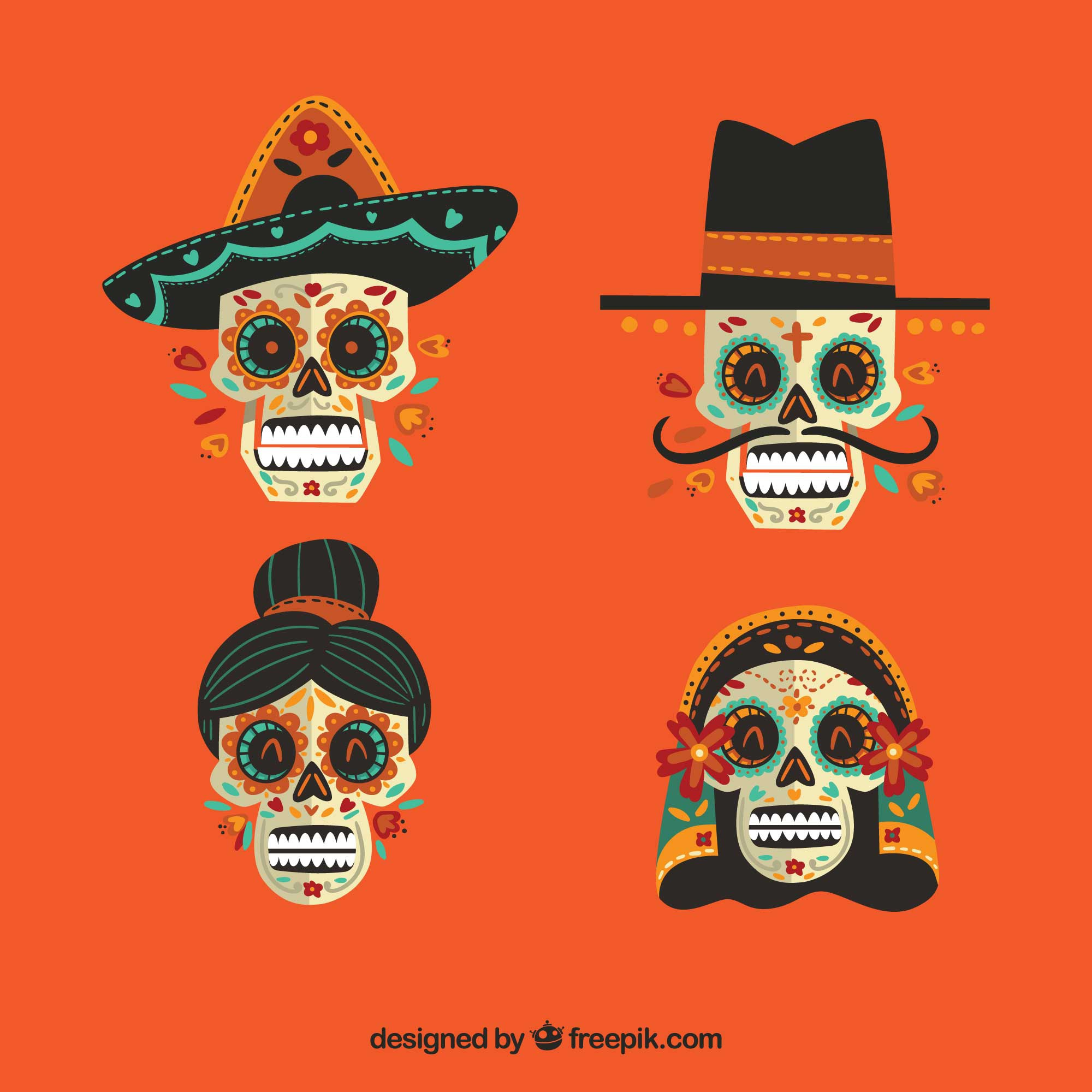 Pack of four mexican skulls