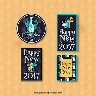 Pack of four new year stickers in vintage style